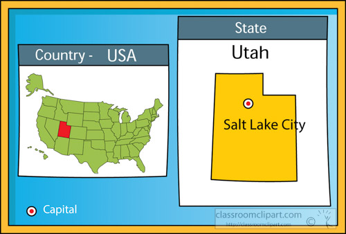 Salt Lake City On Us Map.Us State Maps Clipart Salt Lake City Utah State Us Map With Capital