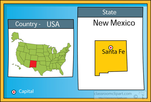 US State Maps Clipart Santafenewmexicostateusmapwith - Santa fe on us map