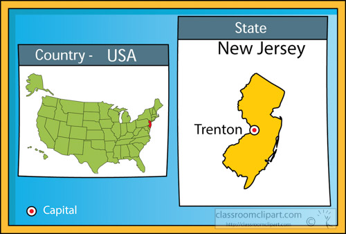US State Maps Clipart Trentonnewjerseystateusmapwith - New jersey on us map
