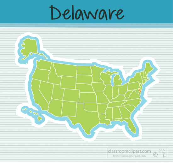 Us State Maps Us Map State Delaware Square Clipart Image - Delaware-on-a-us-map
