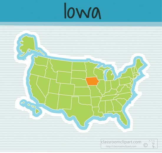 Us State Maps Us Map State Iowa Square Clipart Image Classroom - Iowa-on-a-us-map