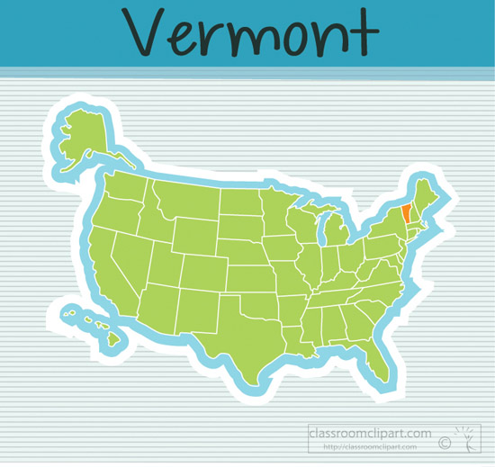 Us State Maps Us Map State Vermont Square Clipart Image - Vermont-on-us-map