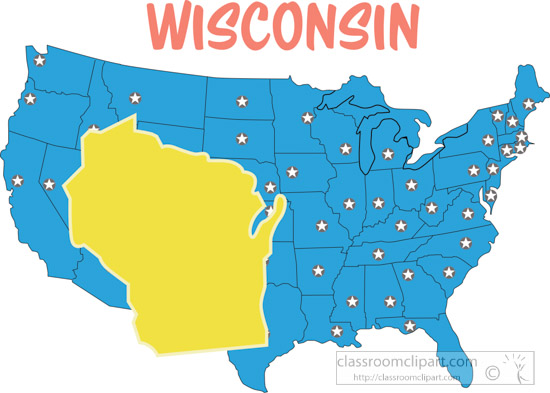 Us State Maps Wisconsin Map United States Clipart Classroom Clipart - Wisconsin-on-map-of-us