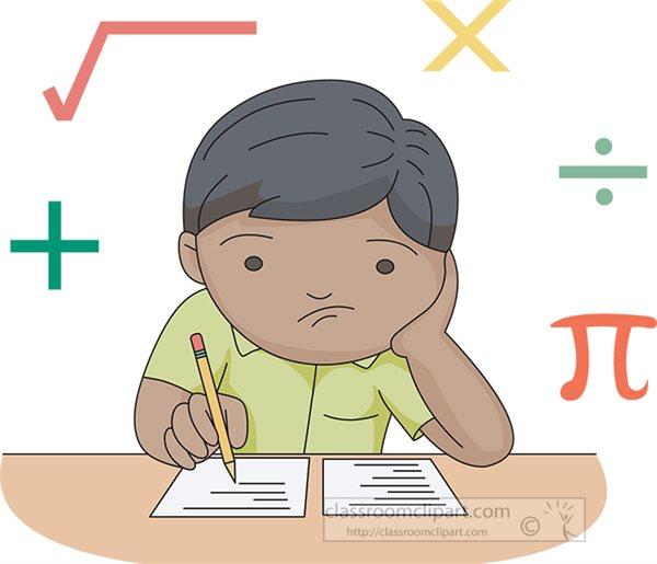 Mathematics : boy-unhappy-solving-math-problem : Classroom ...