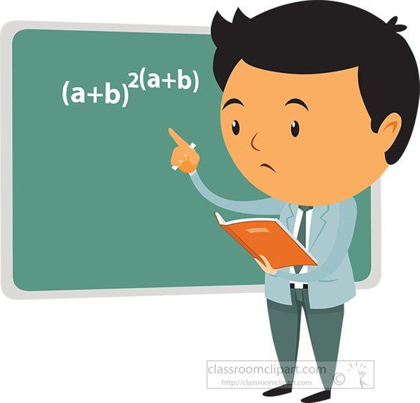 Mathematics Clipart - math-teacher-solving-math-problem-in ... (600 x 575 Pixel)