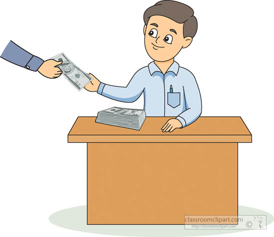 money clipart gentleman sitting at desk collecting money