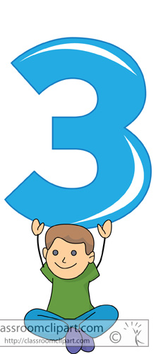 Numbers Clipart - Children With Number Three