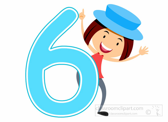 Numbers Clipart - girl-standing-with-number-six-math ...