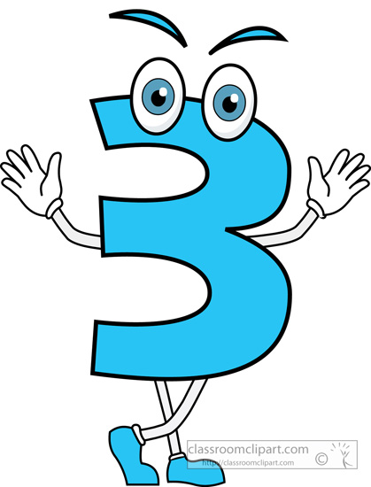 Numbers Clipart- Number Three Cartoon