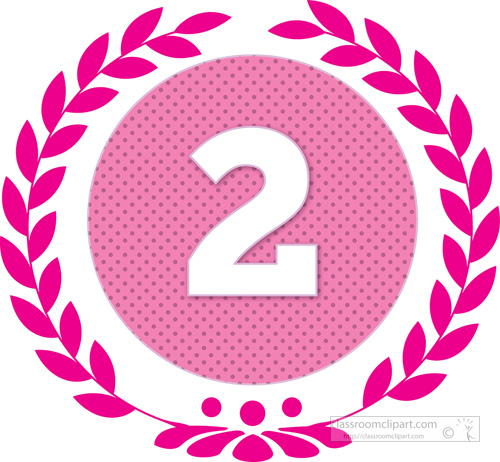 Numbers : wreath-number-two-2-pink : Classroom Clipart