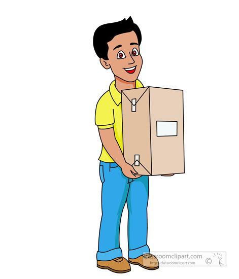 Occupation : delivery-person-with-parcel-in-hand : Classroom Clipart