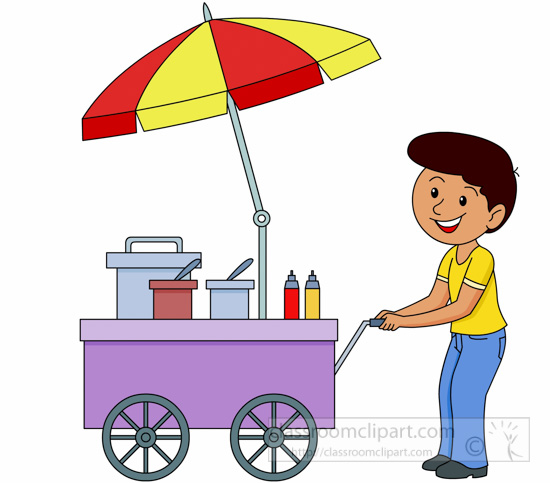 Occupation Clipart- street-vendor-pushng-food-cart-clipart ...