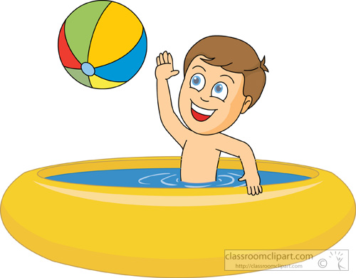 Boy At Pool Clipart