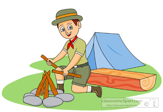 Outdoors : boy-scout-making-a-fire-at-camp-clipart : Classroom Clipart