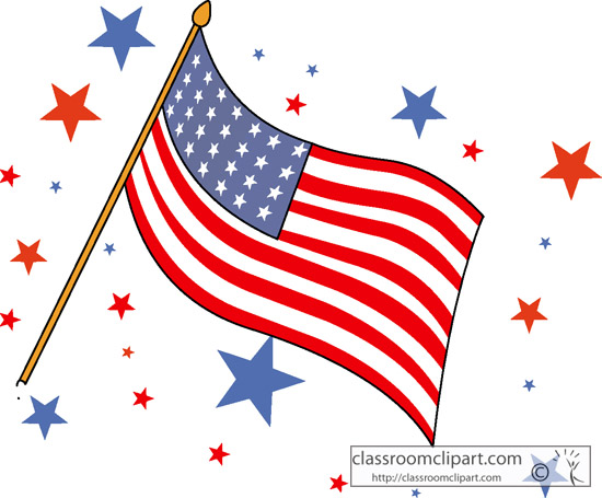 Patriotic Clipart- waving_flag_with_stars - Classroom Clipart