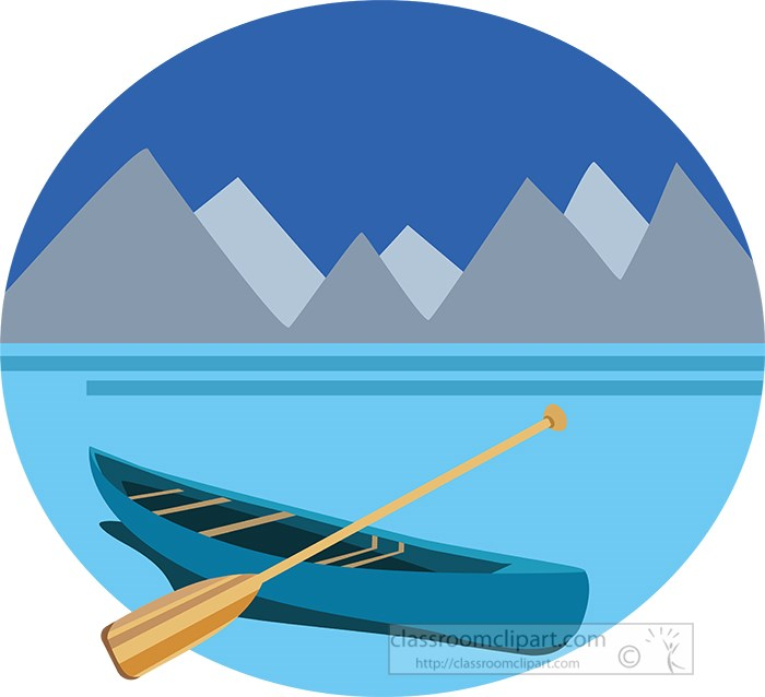 canoe-with-paddle-on-blue-lake-with-moutains-clipart.jpg