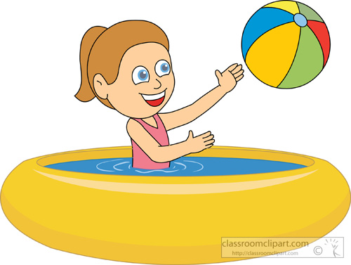 Recreation Girl Playing Inside Rubber Swimming Pool Classroom Clipart