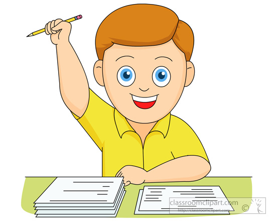 School Clipart Boy Happy He Completed His Exam Test