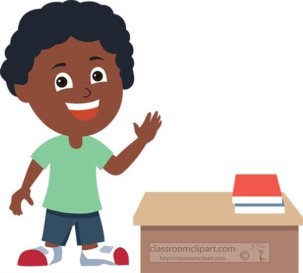 cartoon style african american boy smiling standing near desk clipart.jpg
