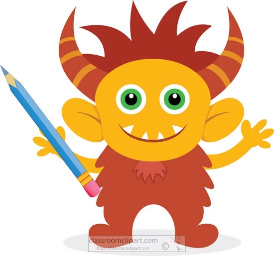cute-yellow-and-brown-monster-clipart-animation1-with-school-pencil.jpg