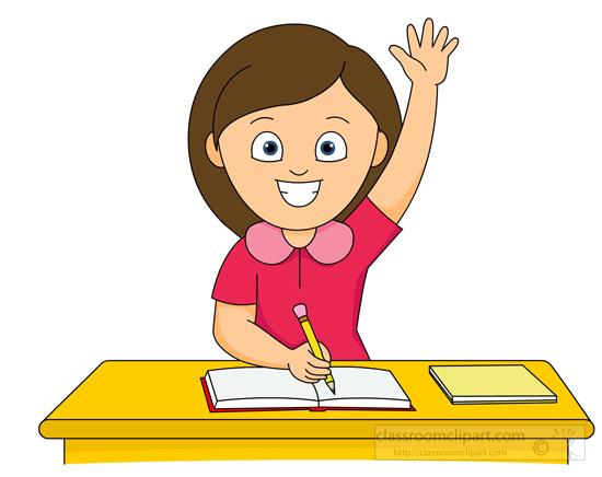School Clipart - girl-raising-hand-in-classroom-sitting-at ...