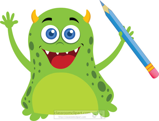 School Clipart - green-cute-monster-character-holding ...