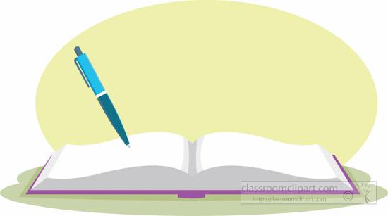 School : Open-book-with-pen-6810-clipart : Classroom Clipart