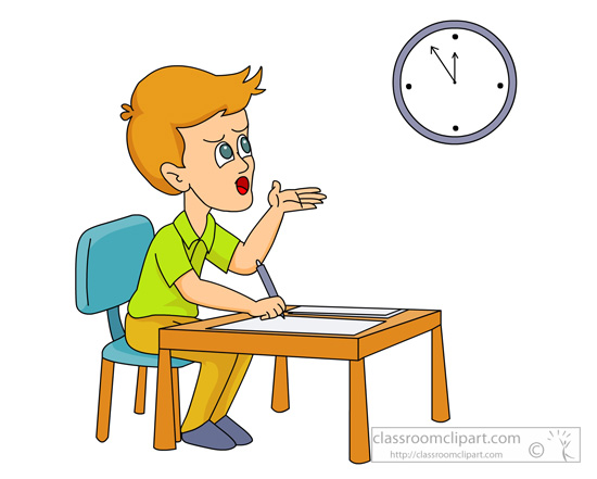 school clipart student looking at clock during final exams