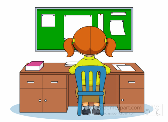 School Clipart Student Sitting At Desk To Study Clipart