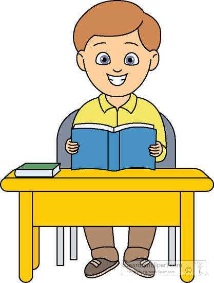 Student Sitting At Desk With Book Open Clipart