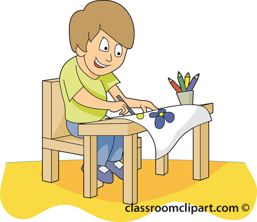 School Student At Desk Painting 32A Classroom Clipart