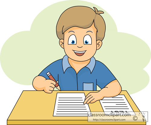School Clipart - student_taking_a_test_116 - Classroom Clipart