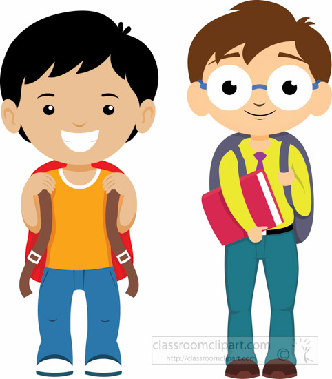 School : two-student-with-backpacks-ready-for-school ...