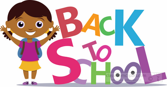 school clipart young female student standing aside text back to rh classroomclipart com back to school clipart pictures back to school clipart pictures