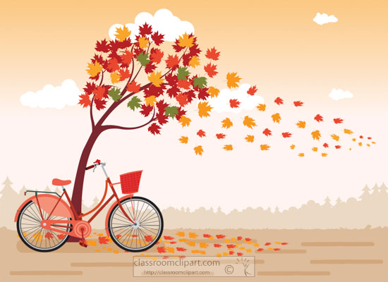 clipart-of-bicycle-under-falling-tree-leavest.jpg