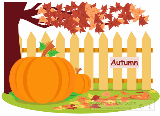 tree-with-fall-foliage-near-fence-with-pumpkin-clipart.jpg