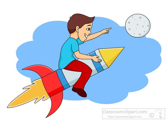 Space : riding-rocket-to-moon-clipart-3158 : Classroom Clipart