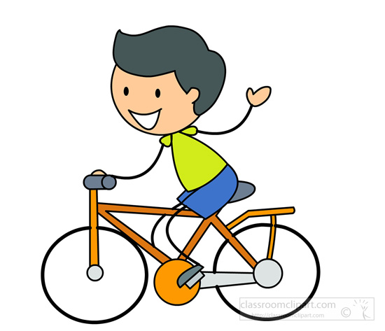 Bicycle Clipart : stick figure boy cycling : Classroom Clipart