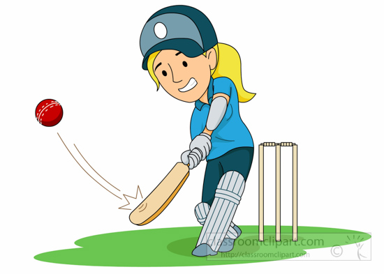 Cricket Clipart Clipart Girl Playing Cricket Swings Bat
