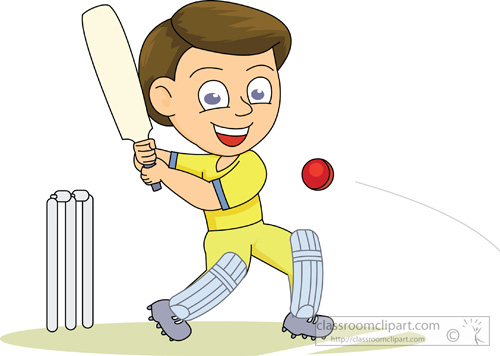 Cricket Clipart : playing_cricket_214 : Classroom Clipart