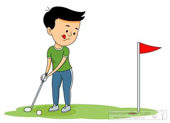 Golf Clipart Clipart- playing-golf-putting-the-ball-into ... Kid Golfer Clipart