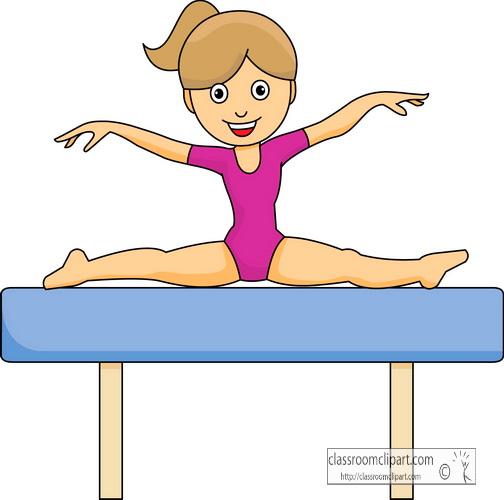 Gymnastics Clipart : gymnastics_girl_balance_beam : Classroom Clipart