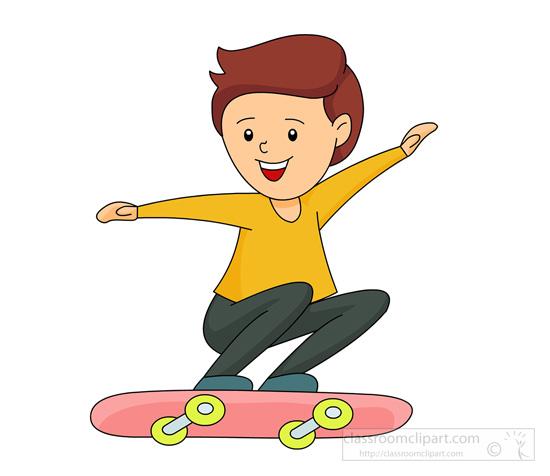 Skateboarding Clipart : boy-jumping-on-skateboard : Classroom Clipart