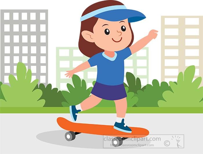 cute-little-girl-skateboarding-clipart-in-city.jpg