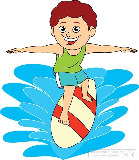 Boy surfing clipart