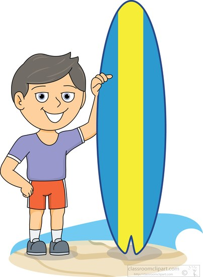 surfing clipart clipart surfer standing next to surfboard at beach rh classroomclipart com Hawaii Surfboard Clip Art Cartoon Surfboard Clip Art
