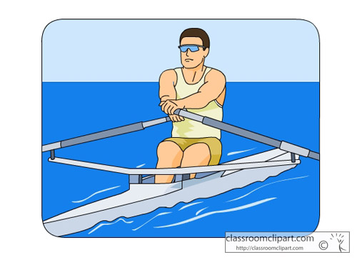 Water Sports : man_rowing_boat_05 : Classroom Clipart