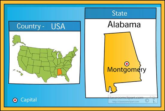 Elegant Alabama Map With Capital Swimnovacom - Us map of alabama