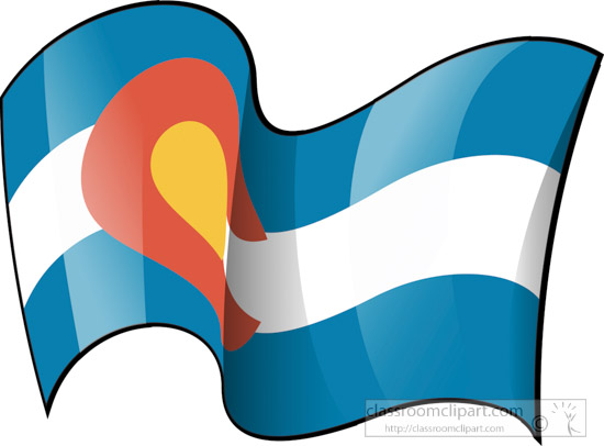 Colorado State Flag Waving Clipart