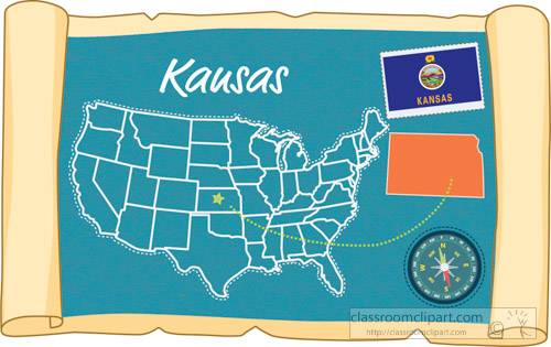 Clipart Scrolled Usa Map Showing Kansas State Map Flag Clipart
